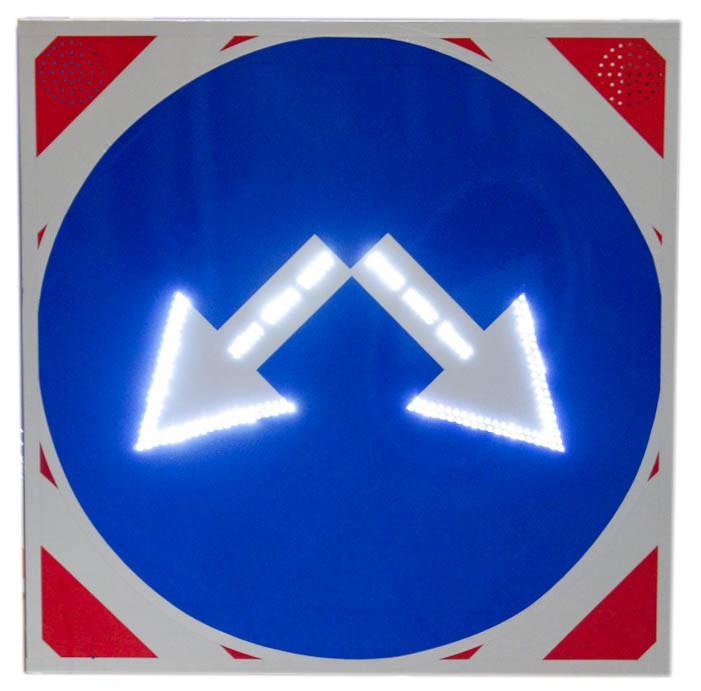 Знак светодиодный (4.2.3), 12В 1000х1000мм, 2 стробоскопа, (без канта / с кантом)