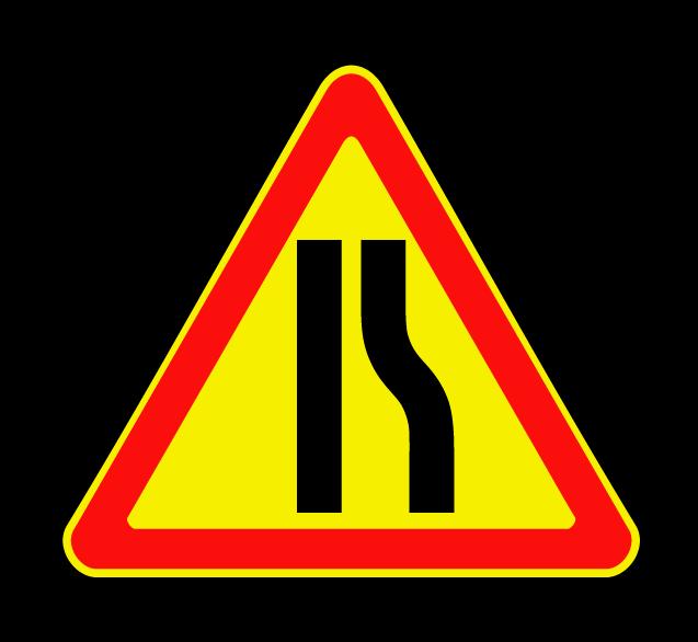 """Маска дорожного знака """"Сужение дороги справа"""" 1.20.2 (временный)"""