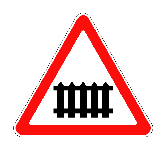 """Маска дорожного знака """"Железнодорожный переезд со шлагбаумом"""" 1.1"""