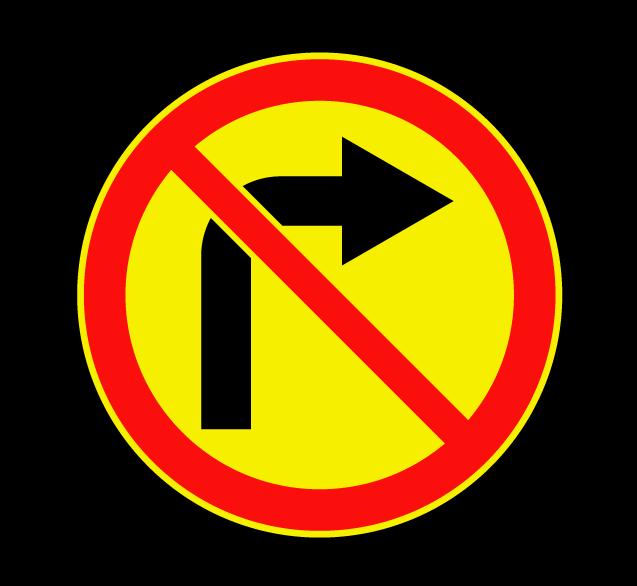 """Маска дорожного знака """"Поворот направо запрещен"""" 3.18.1 (временный)"""