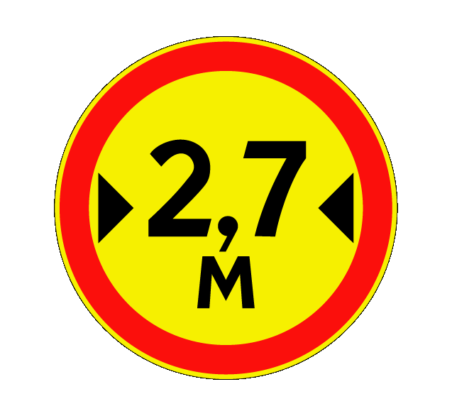 """Маска дорожного знака """"Ограничение ширины"""" 3.14 (временный)"""