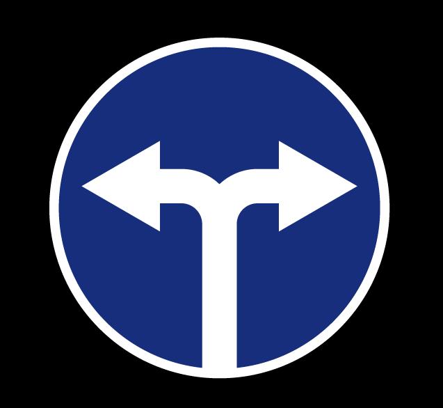 "Маска дорожного знака ""Движение направо или налево"" 4.1.6"