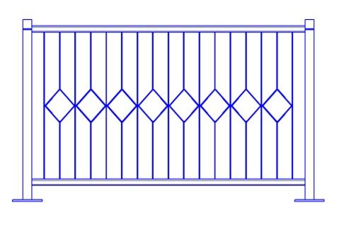 Перильное ограждение ПО-Е (L=2м; H=1,1м)