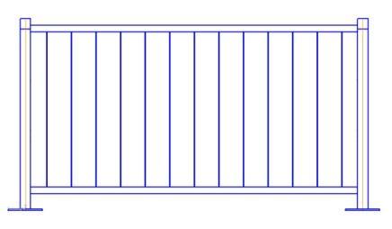 Перильное ограждение ПО-Б (L=2м; H=1,1м)