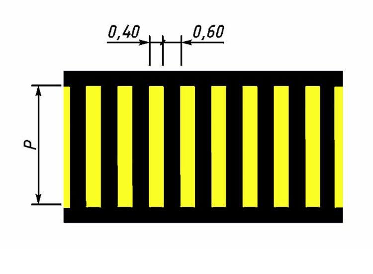 Обозначение пешеходного перехода белый+желтый (1.14.1) на парковках